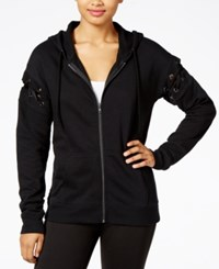 Material Girl Active Juniors' Lace Up Zip Front Hoodie Created For Macy's Noir