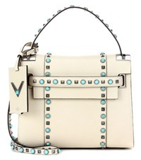 Valentino My Rockstud Rolling Noir Leather Tote White