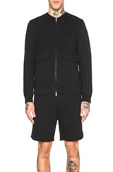 Helmut Lang Padded Jersey Collarless Bomber In Black