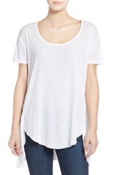 Junior Women's Sun And Shadow 'Circle' High Low Tee White