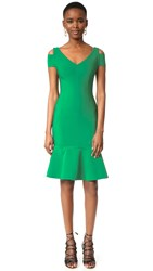 Yigal Azrouel Cap Sleeve Peplum Dress Bright Green