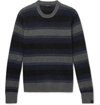 Rag And Bone Striped Ribbed Cotton Cashmere Blend Sweater Gray