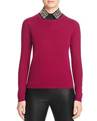 Bloomingdale's C By Embellished Collar Cashmere Sweater Warm Mulberry