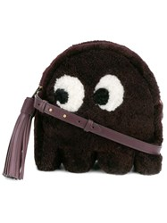 Anya Hindmarch Ghost Shearling Crossbody Bag Pink And Purple