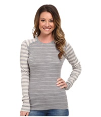 Smartwool Midweight Pattern Crew Neck Top Silver Gray Heather Natural Women's Long Sleeve Pullover