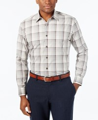 Tasso Elba Men's Fancy Multi Checked Long Sleeve Shirt Only At Macy's Khaki Combo