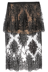 Mason By Michelle Mason Cotton Blend Lace Peplum Skirt