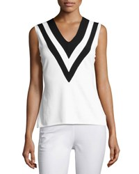 Rag And Bone Daphne Striped Knit V Neck Tank White White Pattern