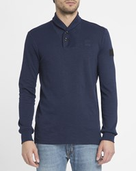 G Star Blue Poult Shawl Collar T Shirt
