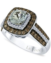 Le Vian Aquamarine 3 4 Ct. T.W. And Chocolate Diamonds 3 4 Ct. T.W. In 14K White Gold