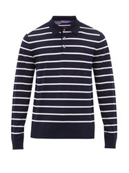 Ralph Lauren Purple Label Striped Knitted Wool Polo Sweater Navy White