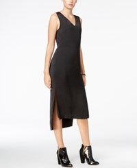 Armani Exchange High Low Midi Dress Solid Black