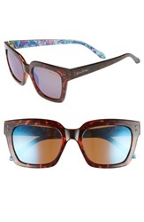 Lilly Pulitzer Celine 54Mm Polarized Square Sunglasses Dark Tortoise Blue Flash Dark Tortoise Blue Flash
