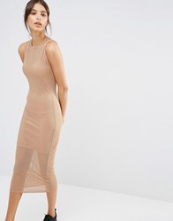 Missguided Fishnet Double Layer Midi Dress Camel Tan