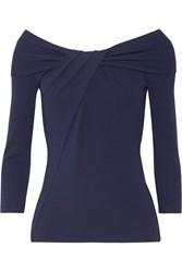 Michael Kors Collection Off The Shoulder Twist Front Stretch Jersey Top Navy