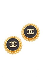 Wgaca What Goes Around Comes Around Chanel Button Clip On Earrings Previously Owned Black Gold