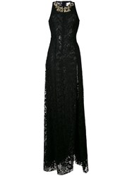 Stefano De Lellis Embellished Lace Maxi Dress Women Polyester 44 Black