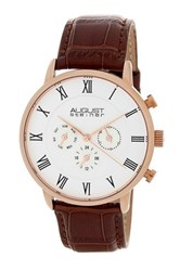 August Steiner Men's Quartz Genuine Leather Bracelet Watch Brown