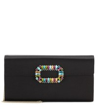 Roger Vivier Envelope Sexy Choc Satin Clutch Black