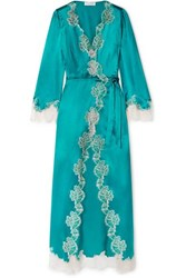 Carine Gilson Chantilly Lace Trimmed Silk Satin Robe Emerald