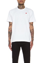 Comme Des Garcons Play Small Red Emblem Cotton Tee In White