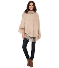 Betsey Johnson Fuzzy Logic Poncho Oatmeal Women's Sweater Brown