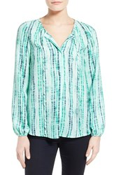 Women's Gibson Tie Neck Peasant Blouse Green Dna Print