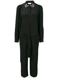 Red Valentino Embroidered Detailed Jumpsuit Black