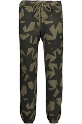 Current Elliott The Varsity Printed Cotton Track Pants Army Green
