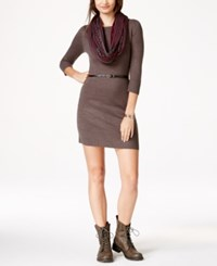 Amy Byer Bcx Juniors' Belted Sweater Dress With Scarf Charcoal