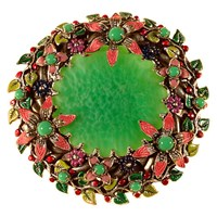 Alice Joseph Vintage Silver Toned Glass And Enamel Floral Surround Brooch Green Multi