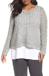 Eileen Fisher Plus Size Women's Organic Cotton And Linen Pullover