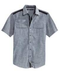 Sean John Men's Solid Twill Short Sleeve Shirt Indigo Chambray