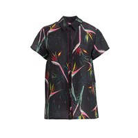 Wtr Black Tropical Print Boxy Linen Shirt
