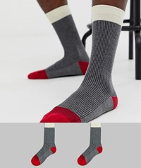 Selected Homme 2 Pack Ribbed Colour Block Socks Multi