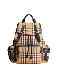 Burberry Vintage Medium Check Sailing Canvas Rucksack Backpack Antique Yellow