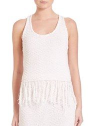 Jonathan Simkhai Shredded Cotton And Linen Twist Tank Top Ivory