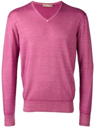 Cruciani V Neck Jumper Pink Purple