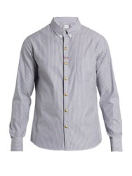 Moncler Gamme Bleu Button Down Collar Striped Cotton Shirt Blue Multi