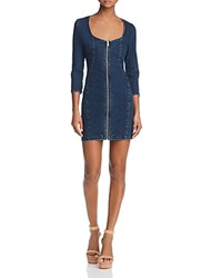 Guess Zip Front Body Con Denim Dress Dark Wash