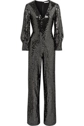 Alice Olivia Lisa Sequined Satin Jumpsuit Gunmetal