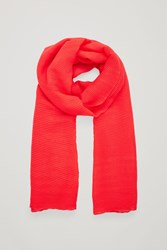 Cos Pleated Wool Scarf Red