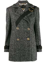 Versace Short Herringbone Coat Black