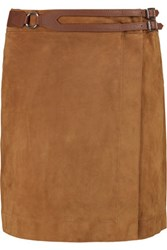 Derek Lam 10 Crosby By Wrap Effect Leather Trimmed Suede Mini Skirt Camel