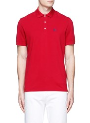 Isaia Logo Embroidery Cotton Pique Polo Shirt Red