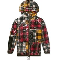 Palm Angels Logo Print Checked Coated Shell Jacket Multi