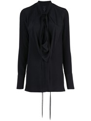 Vera Wang Draped Front Blouse Black