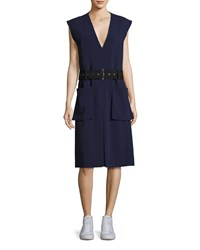 Public School Tamir V Neck Belted Crepe Dress Dark Blue