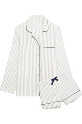 Three J Nyc Phoebe Striped Cotton Flannel Pajama Set White