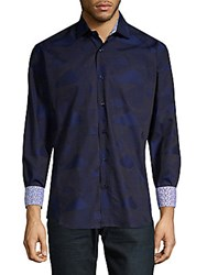 Bertigo Triangles Print Long Sleeve Shirt Navy